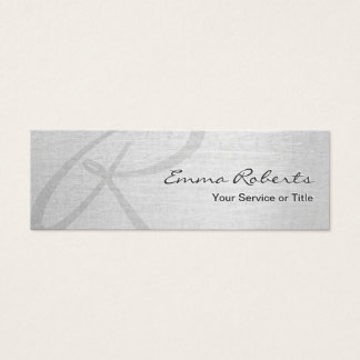 Monogram Script Elegant Silver Mini Mini Business Card