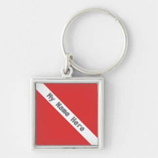 MONOGRAM SCUBA DIVING LOGO RED DIVER FLAG KEY RING