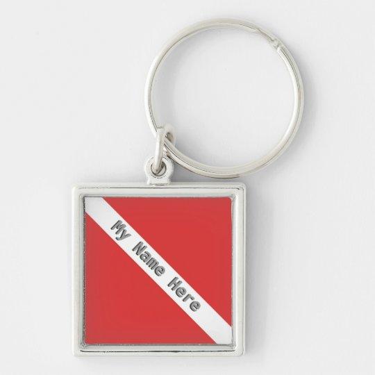 MONOGRAM SCUBA DIVING LOGO RED DIVER FLAG Silver-Colored SQUARE KEY RING