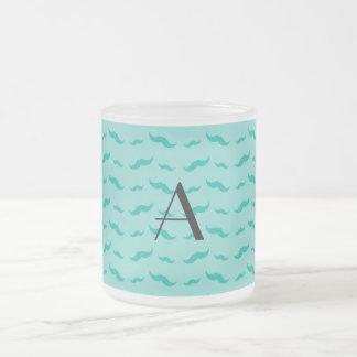 Monogram seafoam green mustache pattern mugs