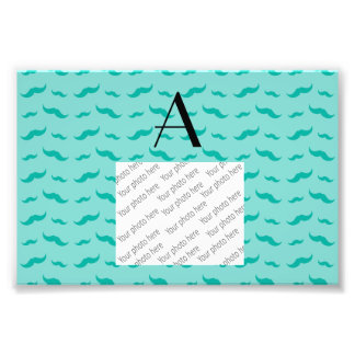 Monogram seafoam green mustache pattern photo