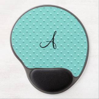 Monogram seafoam green pearl polka dots gel mouse pad