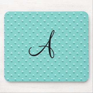 Monogram seafoam green pearl polka dots mouse pad
