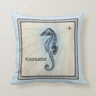 Monogram Seahorse Vintage Blue Nautical Compass Throw Pillow