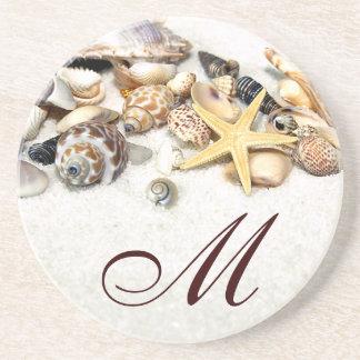 Monogram Seashells Coaster