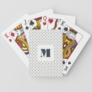 Monogram Series: Elegant Geometric Blue Flowers. Playing Cards