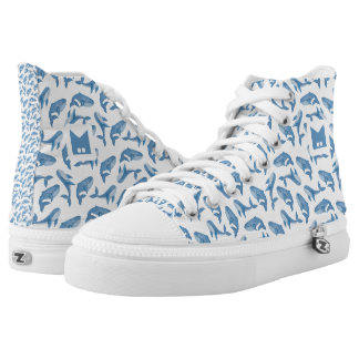 Monogram Series: Kawaii Cute Blue Whales. Printed Shoes