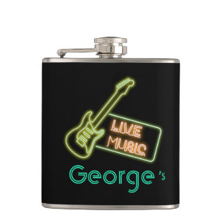 Monogram Series: Neon Live Music Sign Hip Flask