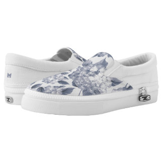 Monogram Series: Vintage Shabby Chic Blue Flowers. Slip-On Shoes