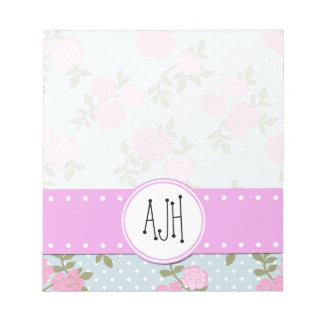 Monogram - Shabby Chic, Dots, Roses - Blue Pink Notepad