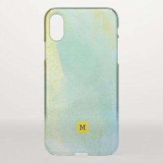 Monogram. Shades of Green and Teal Watercolor iPhone X Case
