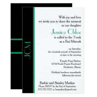 Monogram Shamrock Green Black Bat Mitzvah Card