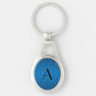 Monogram shiny blue mustache pattern key chains
