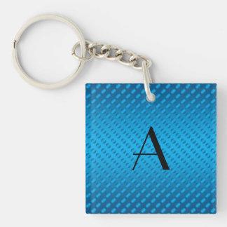 Monogram shiny blue polka dots square acrylic keychain