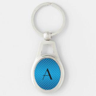 Monogram shiny blue polka dots key chain