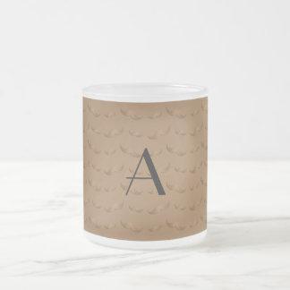 Monogram shiny brown mustache pattern coffee mugs