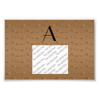 Monogram shiny brown mustache pattern photographic print