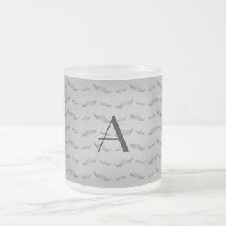 Monogram shiny grey mustache pattern coffee mugs