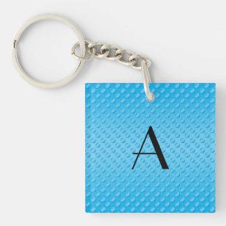 Monogram shiny light blue polka dots Double-Sided square acrylic key ring