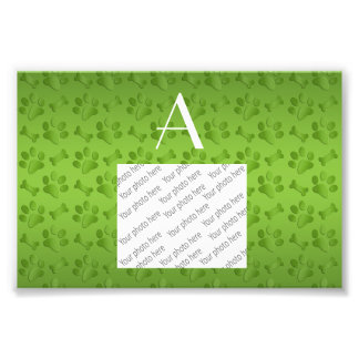 Monogram shiny light green dog paw prints photo art