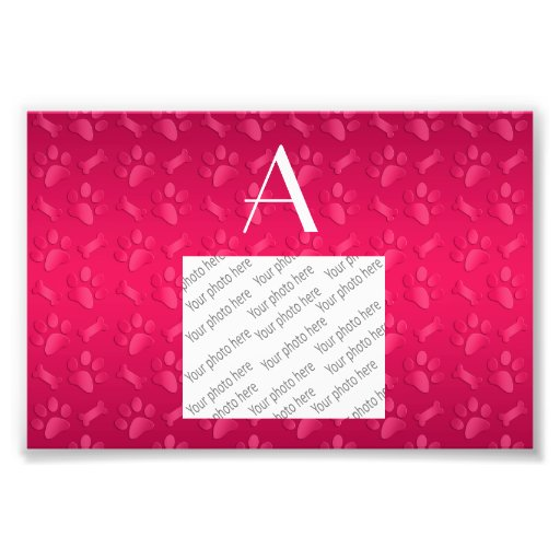 Monogram shiny magenta pink dog paw prints photo print