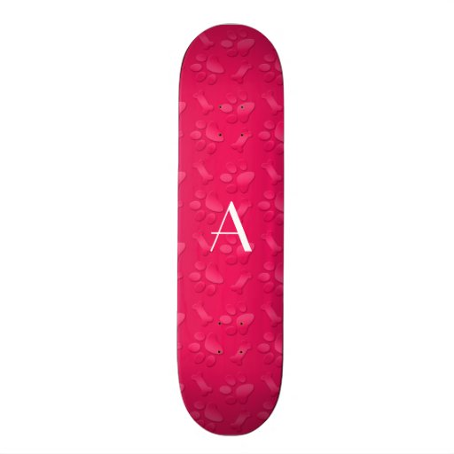 Monogram shiny magenta pink dog paw prints skate boards