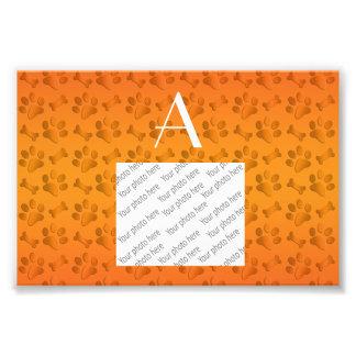 Monogram shiny orange dog paw prints art photo