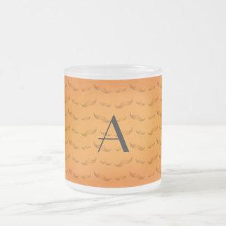 Monogram shiny orange mustache pattern coffee mugs