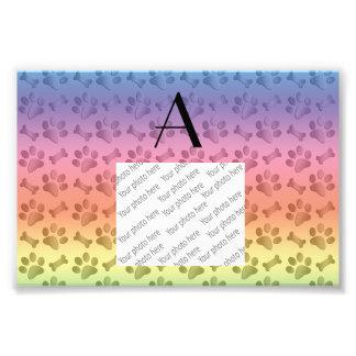 Monogram shiny pastel rainbow dog paw prints photographic print