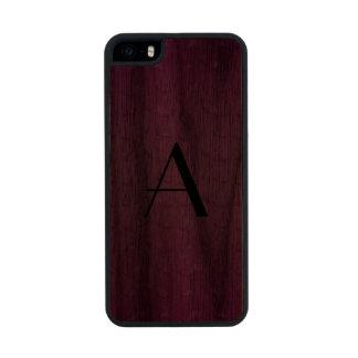 Monogram shiny purple mustache pattern carved® walnut iPhone 5 slim case