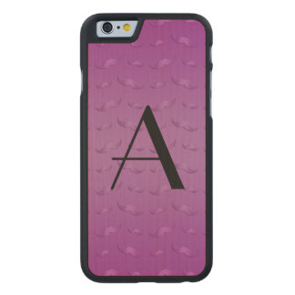 Monogram shiny purple mustache pattern carved® maple iPhone 6 slim case