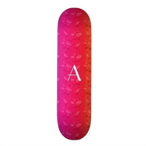Monogram shiny rainbow dog paw prints skateboard