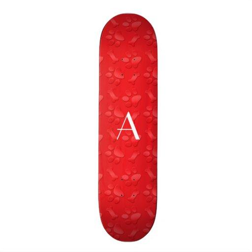Monogram shiny red dog paw prints custom skate board