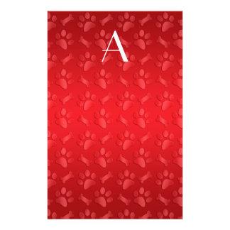 Monogram shiny red dog paw prints stationery design