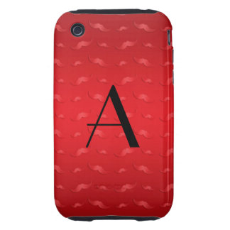 Monogram shiny red mustache pattern tough iPhone 3 cover