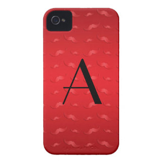 Monogram shiny red mustache pattern iPhone 4 cases