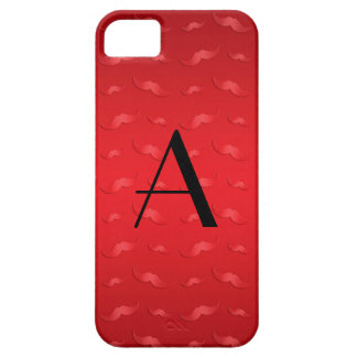 Monogram shiny red mustache pattern iPhone 5 cases