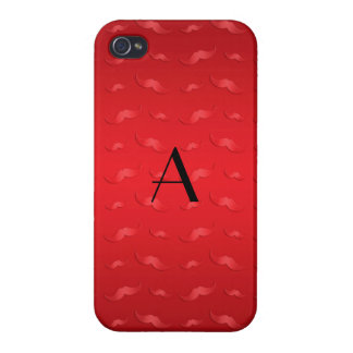 Monogram shiny red mustache pattern iPhone 4 covers