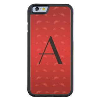 Monogram shiny red mustache pattern maple iPhone 6 bumper
