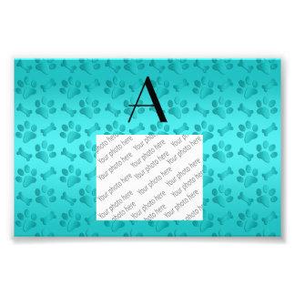 Monogram shiny turquoise dog paw prints photographic print