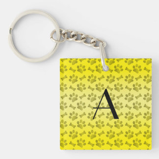 Monogram shiny yellow dog paw prints acrylic key chains