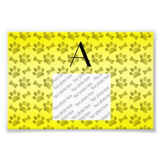 Monogram shiny yellow dog paw prints photograph