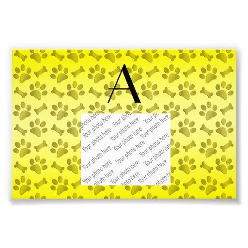 Monogram shiny yellow dog paw prints photo art