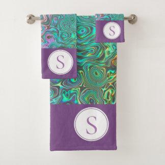 Monogram Silver Aquamarine Pink Towel Set