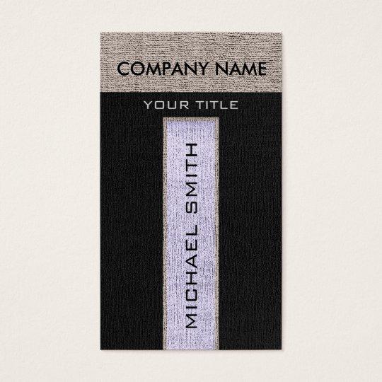 Monogram Silver & Black Burlap Linen Rustic Jute Business Card