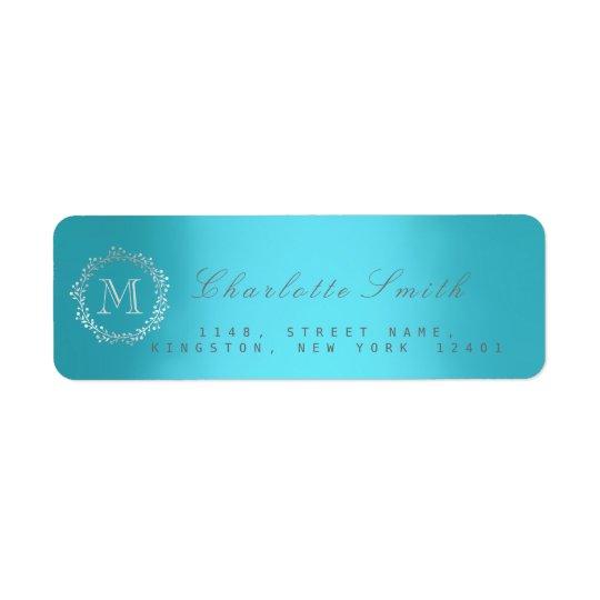 Monogram Silver Blue Return Address Labels