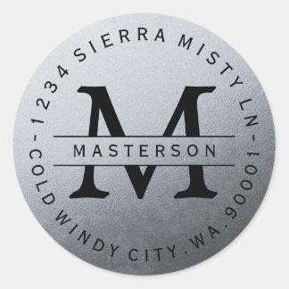 Monogram Silver Circular Return Address Label Round Sticker