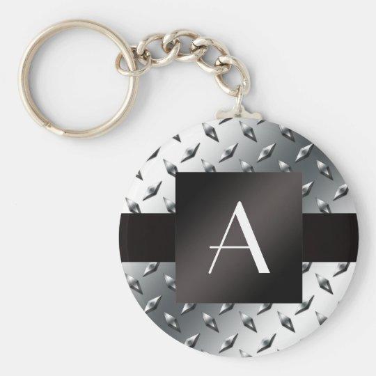 Monogram silver diamond steel plate pattern key ring