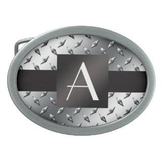 Monogram silver diamond steel plate pattern oval belt buckle
