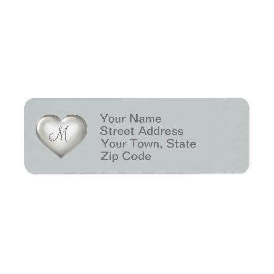 Monogram silver glass heart